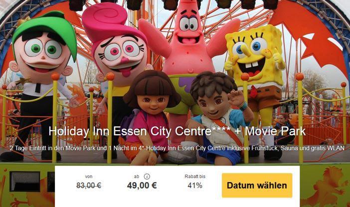 2 Tage Moviepark Bottrop + Übernachtung 4 * Holiday Inn Essen City Centre ab 49€