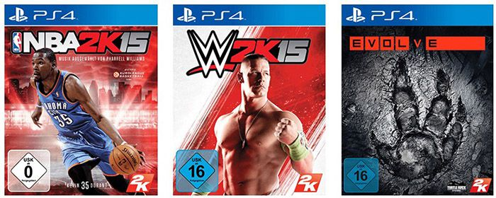 PS4 Games NBA 2k15, WWE 2k15 & Evolve (jeweils PS4) je ab 13€