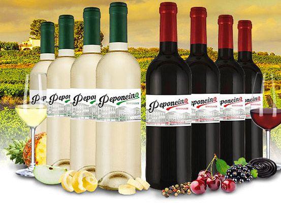 Peponcino Rot  und Weißwein (jeweils 4 Flaschen!) für 29,99€