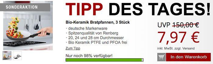 3er Set Renberg Karbon Stahl Bratpfannen für 12,94€ + gratis Artikel