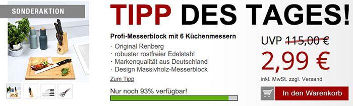 Renberg Profi Messerblock 6 teilig + Gratis Artikel für 8,96€