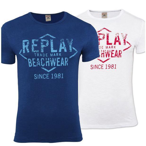 Replay A14BASI   Herren Rundhals M Shirts M 2XL für je 9,99€
