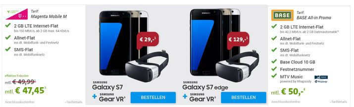 S7 Aktion Samsung Galaxy S7 und S7 edge vorbestellen + Samsung Gear VR Brille GRATIS dazu 44,99€ mtl.