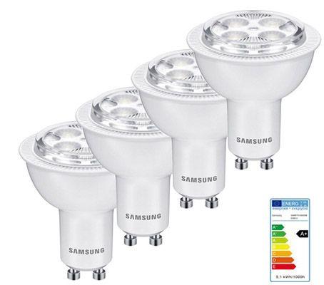 Samsung LED GU10 4er Set Samsung LED Leuchtmittel GU10 5,1W für 13,95€ (statt 20€)