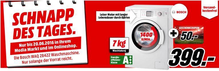 Schnapp Bosch WAQ28422   Waschmaschine mit 7Kg und 1.400U/min. statt 519€ ab 349€   Knaller!