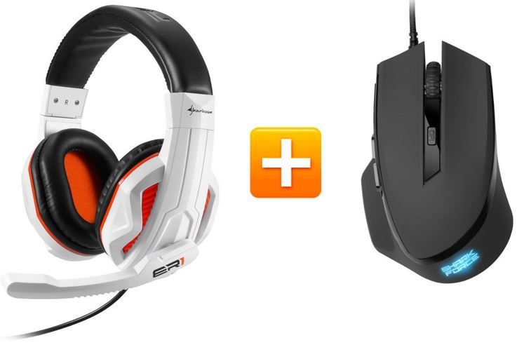 Sharkoon Rush ER1 Headset + Sharkoon SHARK Force Gaming Maus für nur 19,90€