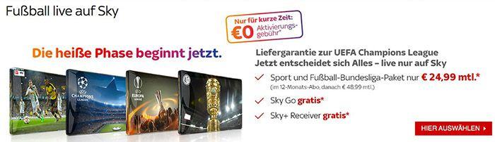 Sky Sport Sky Starter / Sport / Fußball Bundesliga für 24,99€ mtl. + 50€ Amazon.de Gutschein