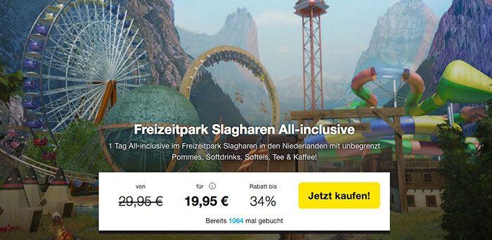 Freizeitpark Slagharen Ticket + All Inclusive Verpflegung für 17,95 € (statt 31,90 €)