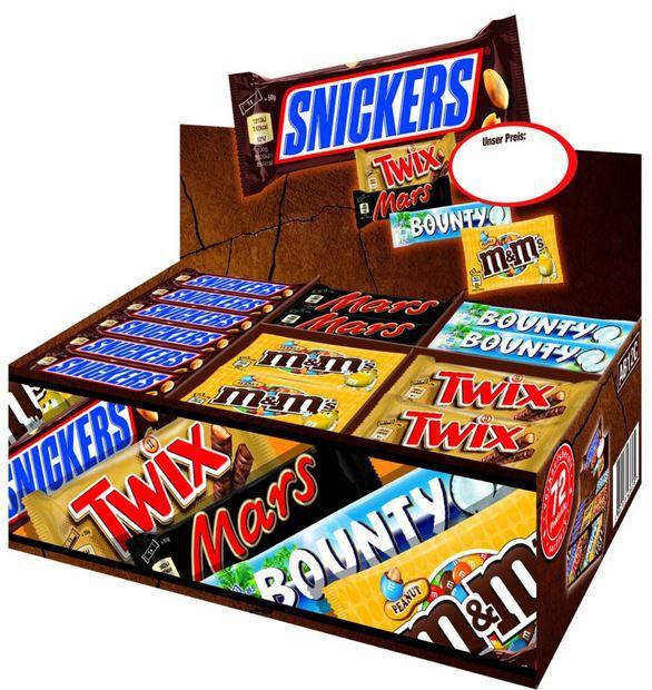 Mars Topsellerbox   Snickers, Twix, Mars, Bounty M&Ms Peanut 72 Riegel für 29,99€