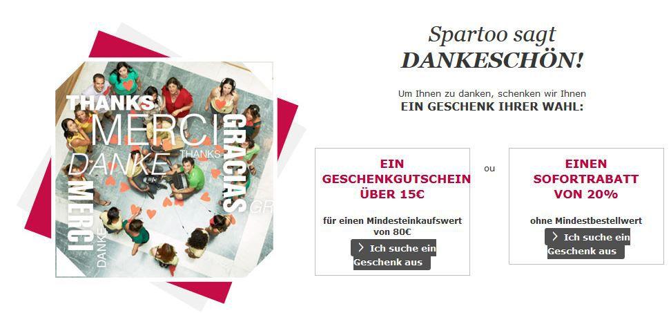 Spartoo Geschenk Spartoo mit 20% oder 15€ sofort Rabatt   günstige Sneaker: NIKE, Converse .....