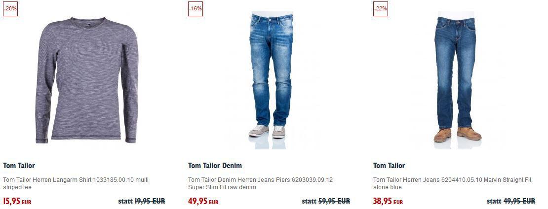 Tom Tailor mit 25% Extra Rabatt bei Jeans Direct
