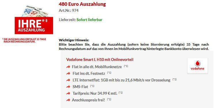 Vodafone mit Auszahlung Vodafone Smart L Voll Flat + SMS + 1GB Daten dank 480€ Auszahlung für effektiv 14,99€
