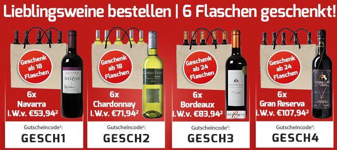 6 Flaschen Wein gratis bei jeder Bestellung ab 18 Flaschen + VSK frei