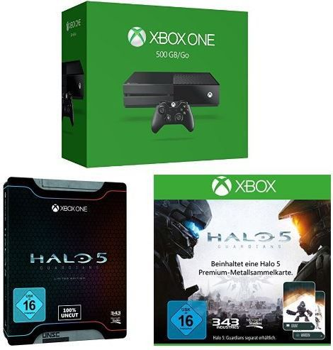 Xbox one Xbox One 500 GB Konsole 2015 + Halo 5: Guardians   Limited Edition + Halo 5 Sammelkarte für 299€ nur heute