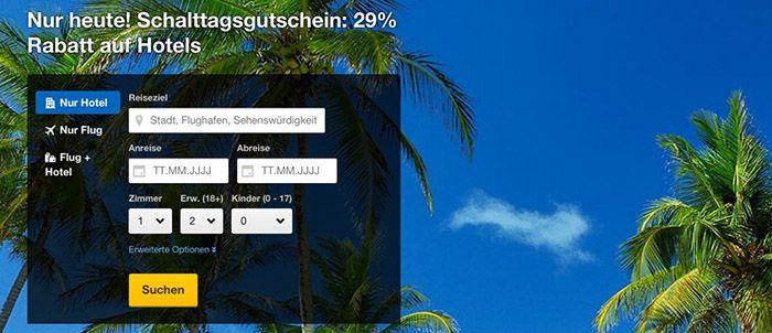 expedia 29% Rabatt auf ausgewählte Hotels über die expedia App