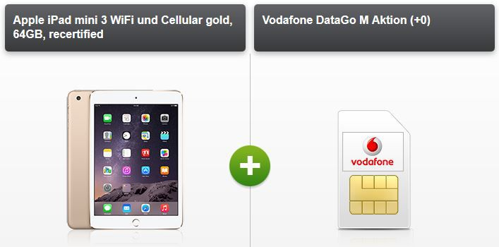 iPad mini3 3GB Vodafone DataGo M LTE + iPad Air 2 (B Ware) ab 17,49€/Monat