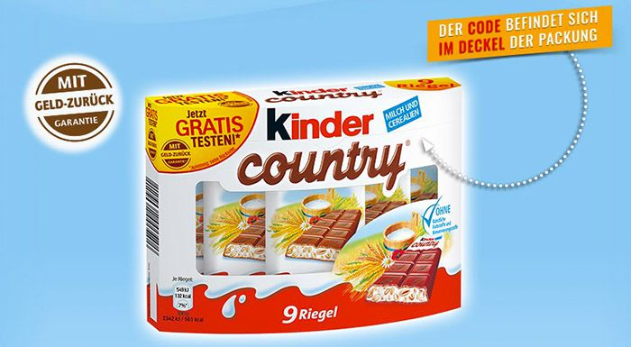 kinder country 1 Packung kinder country gratis testen dank Cashback