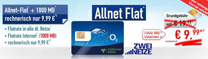 o2 Allnet Flat + 250 SMS + 1GB für 9,99€ mtl.
