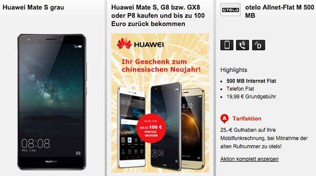 Huawei Mate S 32GB + otelo Allnet Flat 500MB für 19,95€ mtl.