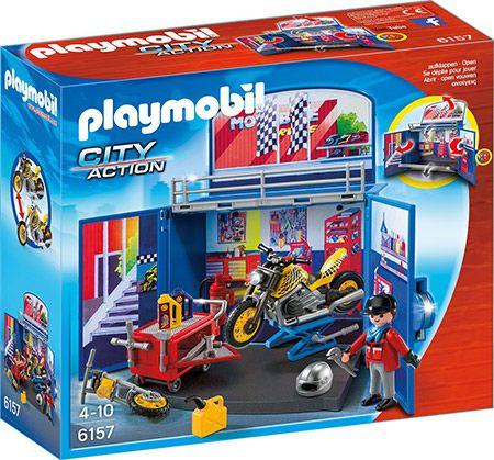 playmobil 6157 PLAYMOBIL 6157   Aufklapp Spiel Box Motorradwerkstatt für 7,30€