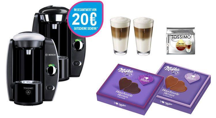 Bosch Tassimo Fidelia + Milka Set + WMF Latte Macchiato Gläserset + 20€ Gutschein für 39,99€