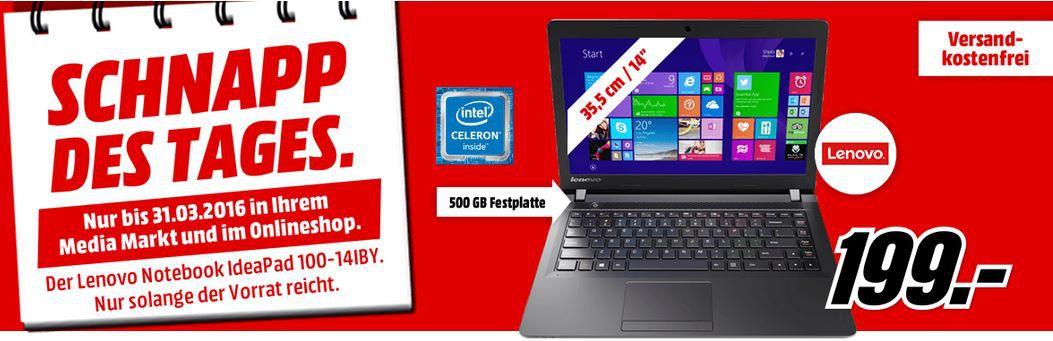 14 Zoll Notebook Angebot Lenovo Ideapad 100 14   14 Zoll Einsteiger Notebook für nur 199€