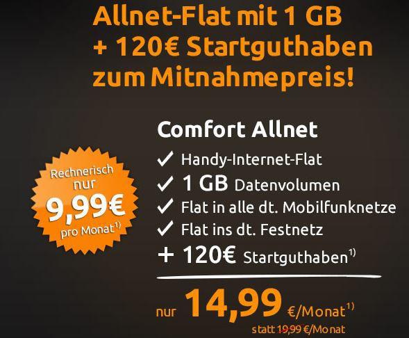 O² Allnet Flat in alle deutschen Netze + 1GB Daten für nur 9,99€ mtl.