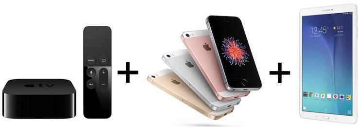 Apple Bundle Apple iPhone SE + Apple TV4 + Samsung Galaxy Tab E 9.6 + Magenta Allnet u. SMS Flat mit 500MB für 39,95€