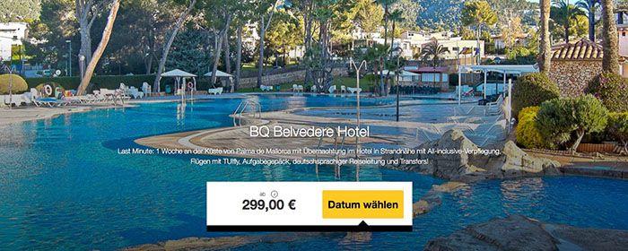 BQ Belvedere Hotel 8 Tage Mallorca im 3* Hotel mit All Inc. + Flügen + Transfer ab 299€p.P.