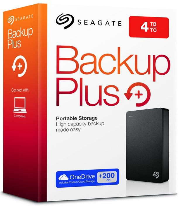 Seagate Backup Plus Portable   externe 4TB Festplatte (2.5) mit 200GB Cloudspeicher für 142,90€