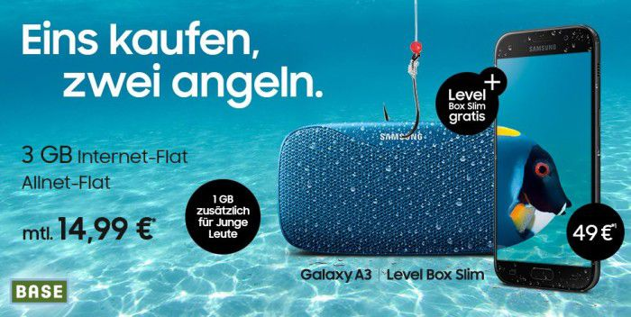Samsung Galaxy A3 (2017) + NEW Samsung Level Box + BASE Allnet Flat + 3GB Daten für 17,03€ mtl.