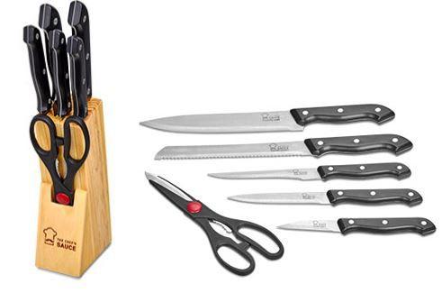 Bergner Messerset mit Schere und Holzblock   7 teilig für nur 7,96€ + 2 Gratisartikel