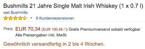 Bushmills 21 Jahre Single Malt Irish Whiskey für 70,34€ (statt 85€)