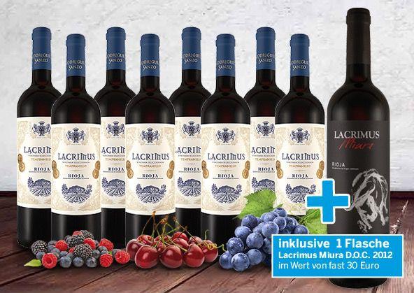 8 Flaschen Rioja Lacrimus + 1 Flasche Lacrimus Miura für 49€