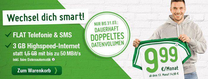 o2 Allnet Tarif mit 3GB LTE für 12,49€ mtl.   oder mit 6GB nur 17,49€ mtl.