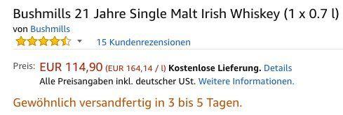 Wieder da! Bushmills 21 Jahre Single Malt Irish Whiskey für 114,90€ (statt 159€)