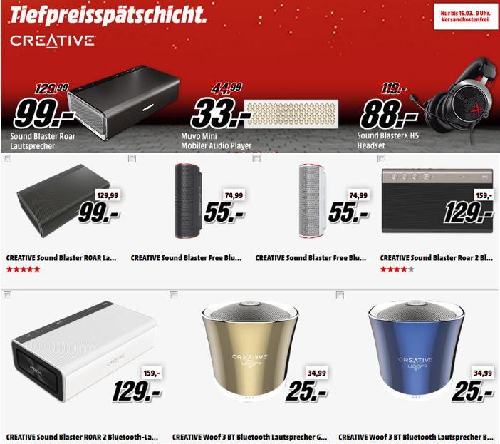 Bluetoothlautsprecher Creative Bluetooth Lautsprechern und Gaming Headsets in der MediaMarkt Tiefpreisspätschicht