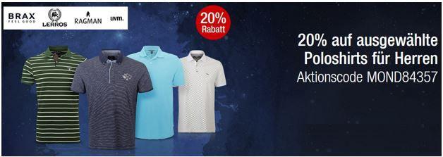 Braxx 20% Rabatt auf ausgewählte Poloshirts für Herren in den Galeria Kaufhof Mondschein Angeboten