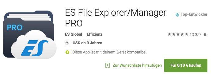 ES File Explorer/Manager PRO Android App für 0,10€ (statt 2,99€)