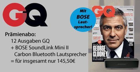 GQ 12 Ausgaben GQ + Bose Soundlink Mini 2 für 145,50€ (statt 221€)