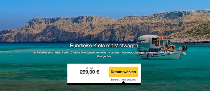 Kreta Rundreise (7 oder 10 Nächte) mit Frühstück + Flügen ab 299€p.P.