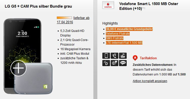 LG G5 Vertrag LG G5 mit CAM Plus + Vodafone Allnet Flat + SMS Flat + 1,5GB Daten für 39,99€