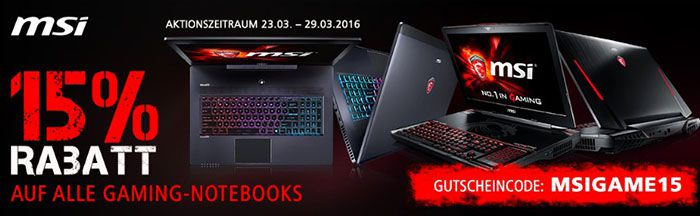 MSI Gaming Notebooks 15% Rabatt auf MSI Gaming Notebooks