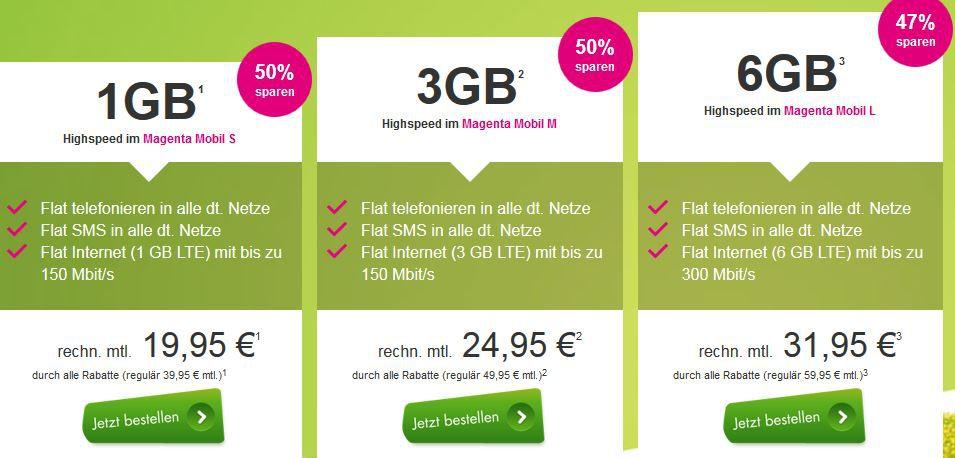 Magenta 1 GB Telekom Allnet + SMS + 1GB LTE ab 19,95€ und mehr Top Magenta Verträge