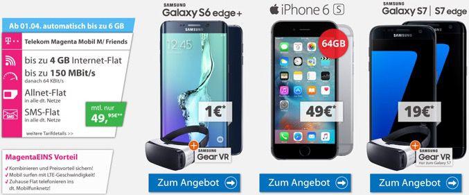 Samsung Galaxy S7 oder iPhone 6s + Magenta Mobil M + gratis Tablet für 49,95€ mtl.