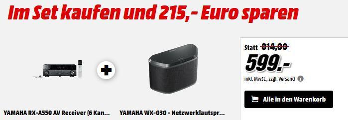 Yamaha RX A550 5.1 AV Netzwerk Receiver + Yamaha WX 030BL Lan Lautsprecher statt 775€ für 599€