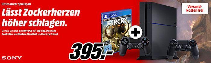 Playstation 4 mit 1TB + 2. Controller + Standfuß + Far Cry Primal für 395€