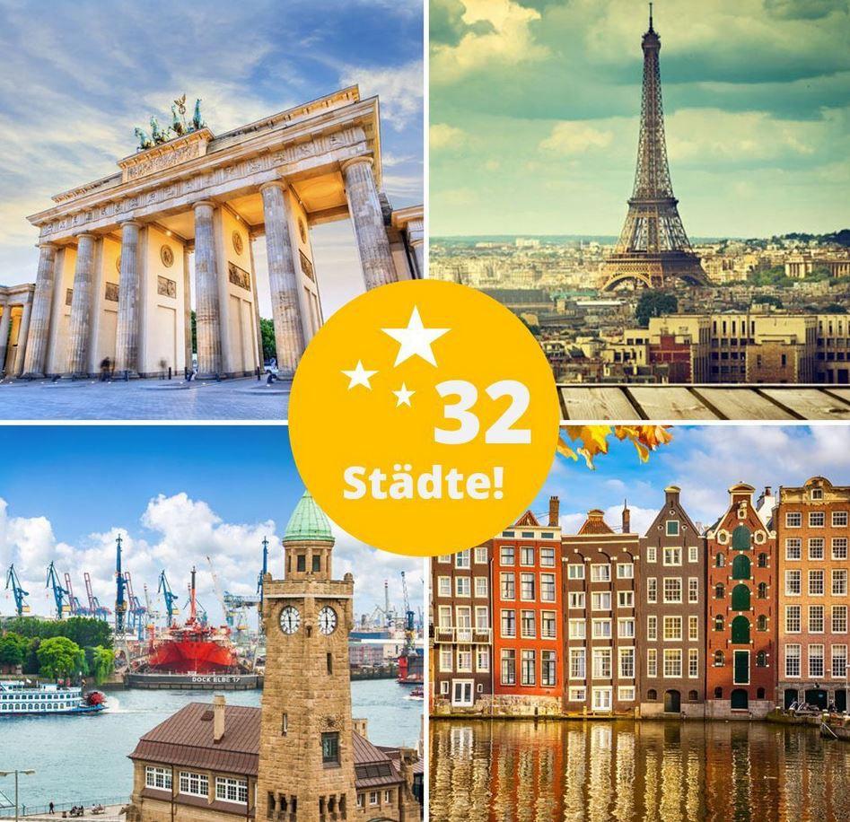 3 Tage Kurzurlaub für 2 Personen in einem von 60 verschiedenen 3* & 4* Hotels in Europa für 89€