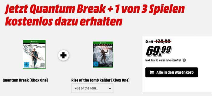 Quantum Break (Xbox One) + eins von drei weiteren Spielen für 69,99€ (statt 95€)