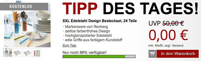 Renberg Edelstahl Besteckset 24 teilig + Messerschärfer für 5,97€